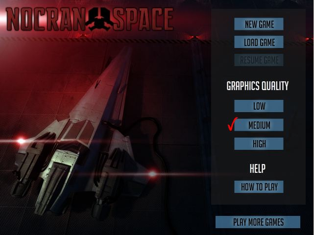 Nocran Space Game - Menu